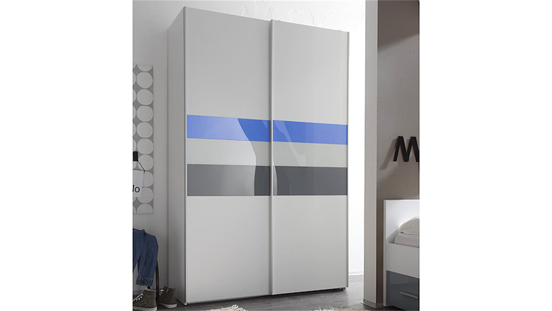 Schwebetürenschrank weiß grau  COLORI weiß und Glas blau grau 125 cm