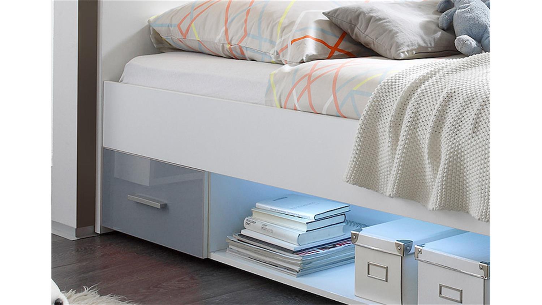 bett colori wei und glas grau 90x200 cm. Black Bedroom Furniture Sets. Home Design Ideas