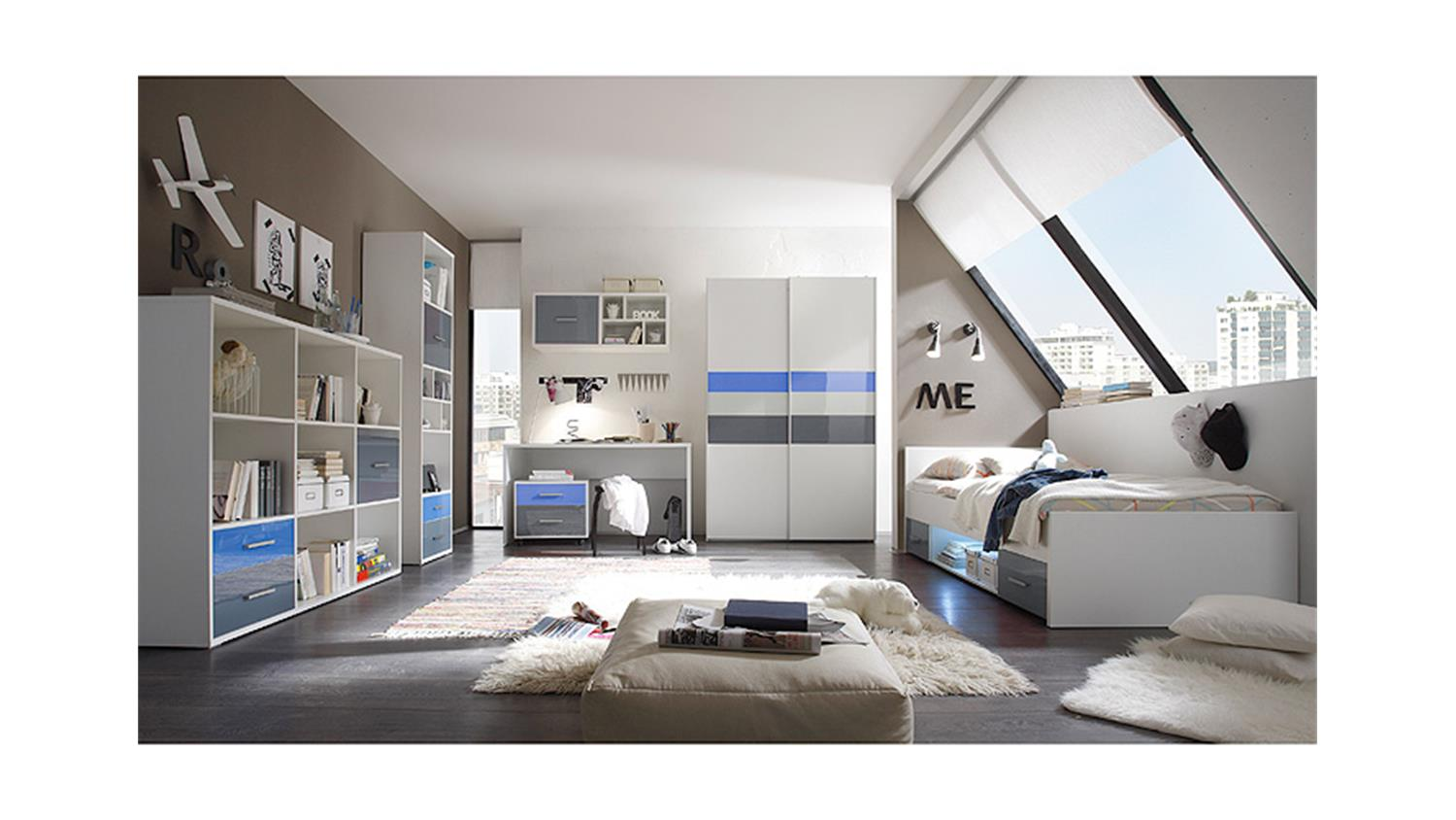 schreibtisch colori wei inkl rollcontainer blau grau. Black Bedroom Furniture Sets. Home Design Ideas