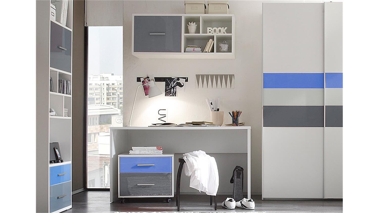 jugendzimmer set 2 colori in wei und glas blau grau