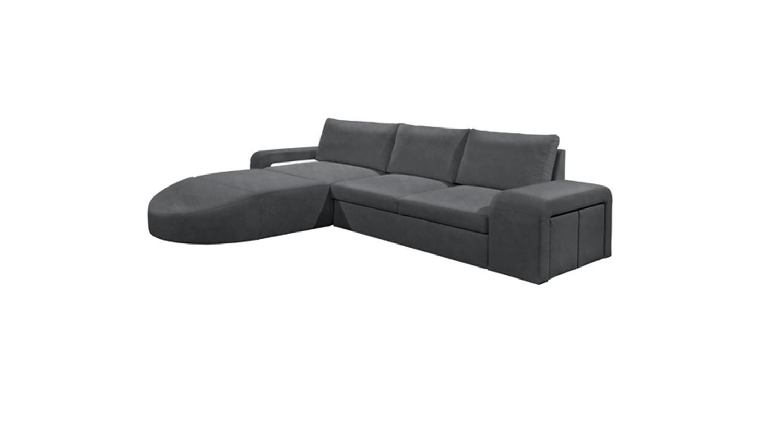 Ecksofa cannes wohnlandschaft sofa dunkel grau inkl hocker for Ecksofa wohnlandschaft