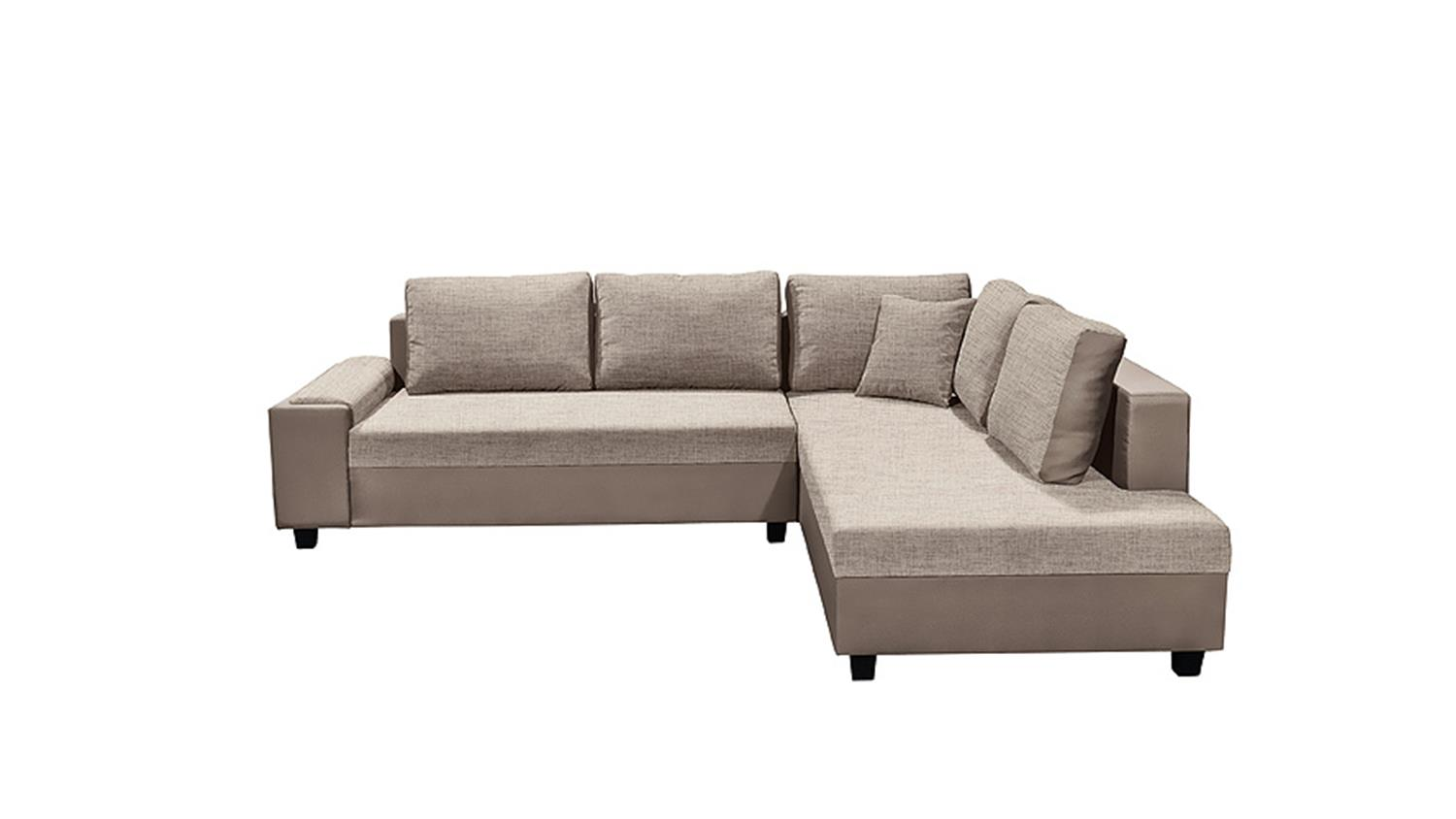 ecksofa stoff braun beige 3 sitzer sofa couch eckcouch. Black Bedroom Furniture Sets. Home Design Ideas