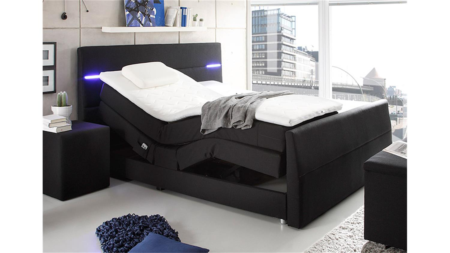 boxspringbett nebraska schwarz mit motor led und topper 180. Black Bedroom Furniture Sets. Home Design Ideas