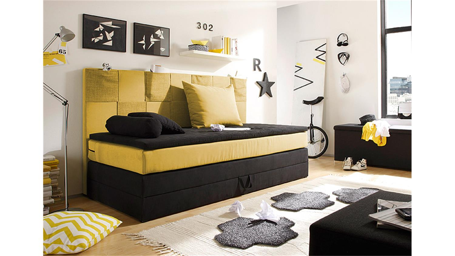 boxspringbett kid poket kinderbett schwarz gelb mit topper. Black Bedroom Furniture Sets. Home Design Ideas