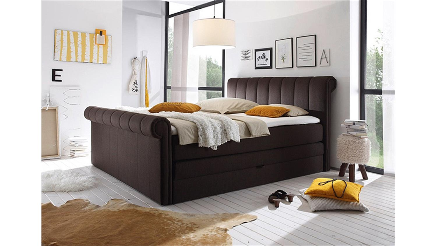 boxspringbett 3 california bett in braun mit topper 180x200. Black Bedroom Furniture Sets. Home Design Ideas