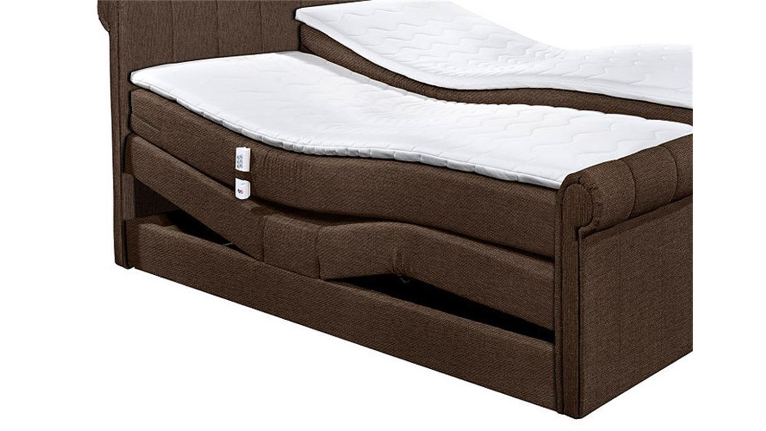boxspringbett 4 california bett in braun mit motor 180x200. Black Bedroom Furniture Sets. Home Design Ideas