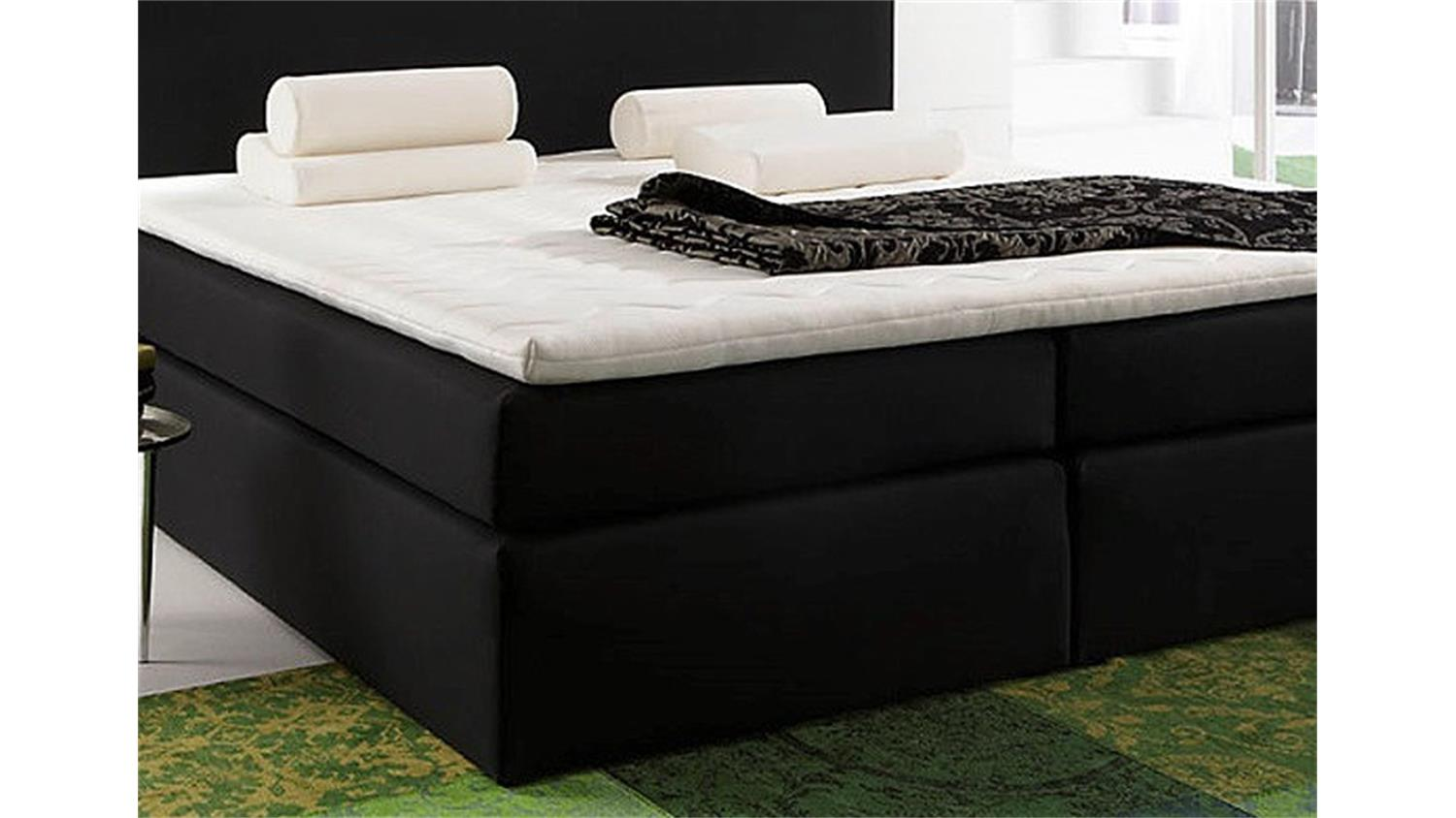 boxspringbett santa barbara bett in schwarz inkl topper 140. Black Bedroom Furniture Sets. Home Design Ideas