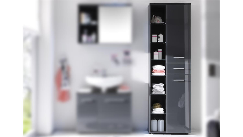 Hochschrank GREY Badezimmer Bad Schrank grau glänzend