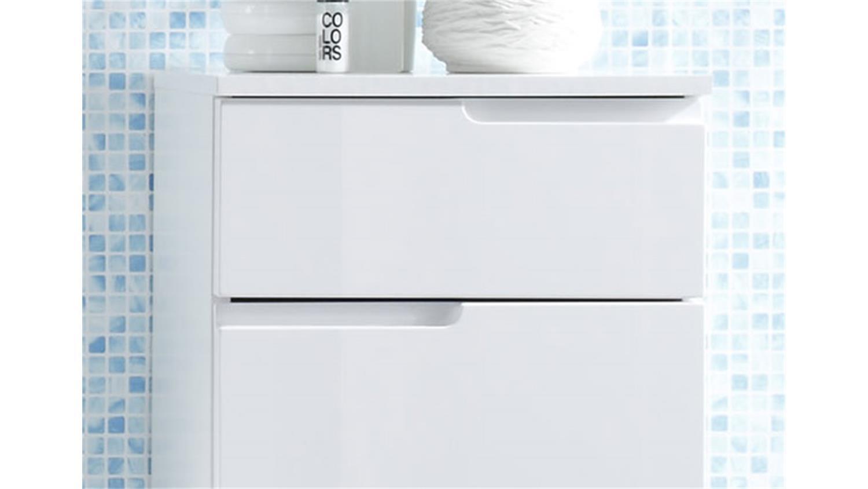 Kommode SPICE Badezimmer Bad Schrank in weiß Hochglanz