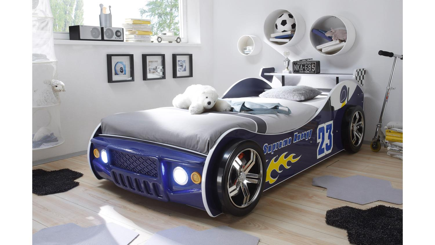 autobett energy kinderbett rennwagen blau mit beleuchtung. Black Bedroom Furniture Sets. Home Design Ideas