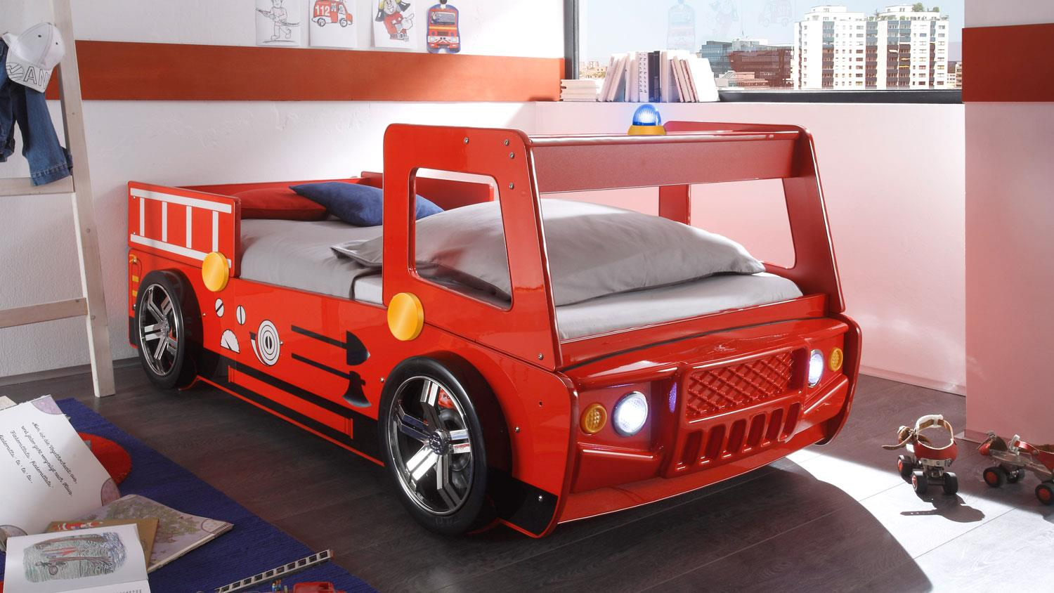 feuerwehr kinderbett spark in rot lackiert mit beleuchtung. Black Bedroom Furniture Sets. Home Design Ideas