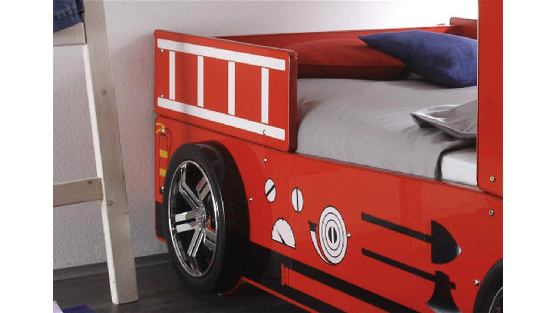 feuerwehr kinderbett spark in rot lackiert mit beleuchtung. Black Bedroom Furniture Sets. Home Design Ideas