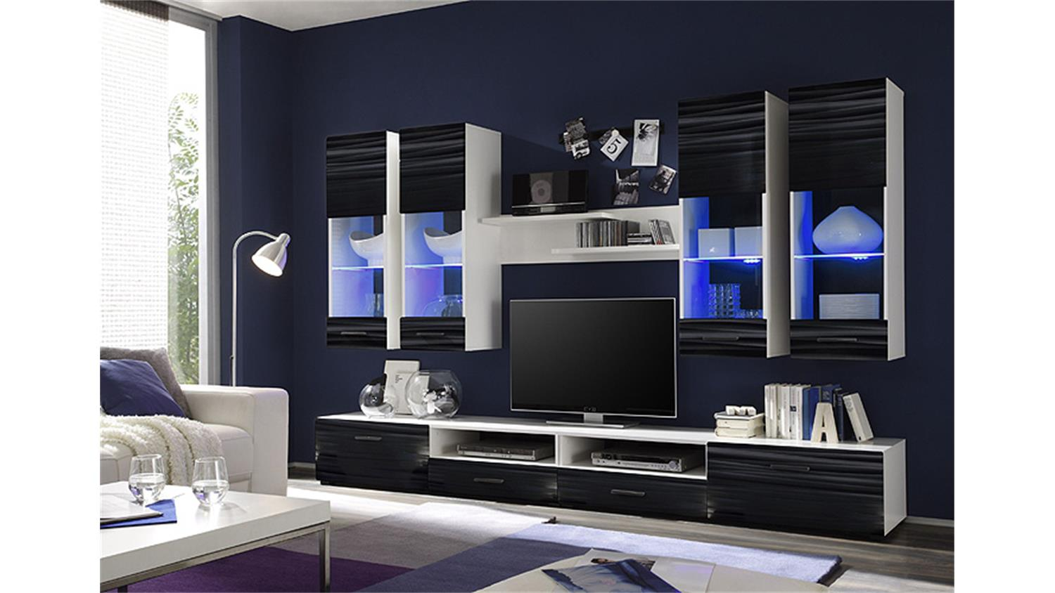 wohnwand attac 4 sahara schwarz 3d folie wei mit led. Black Bedroom Furniture Sets. Home Design Ideas