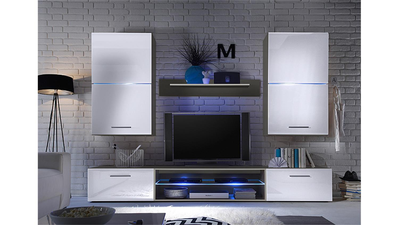 wohnwand blade 2 anbauwand wei hochglanz titan mit led. Black Bedroom Furniture Sets. Home Design Ideas