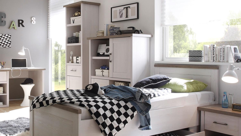highboard jugendzimmer luca pinie wei und tr ffel. Black Bedroom Furniture Sets. Home Design Ideas