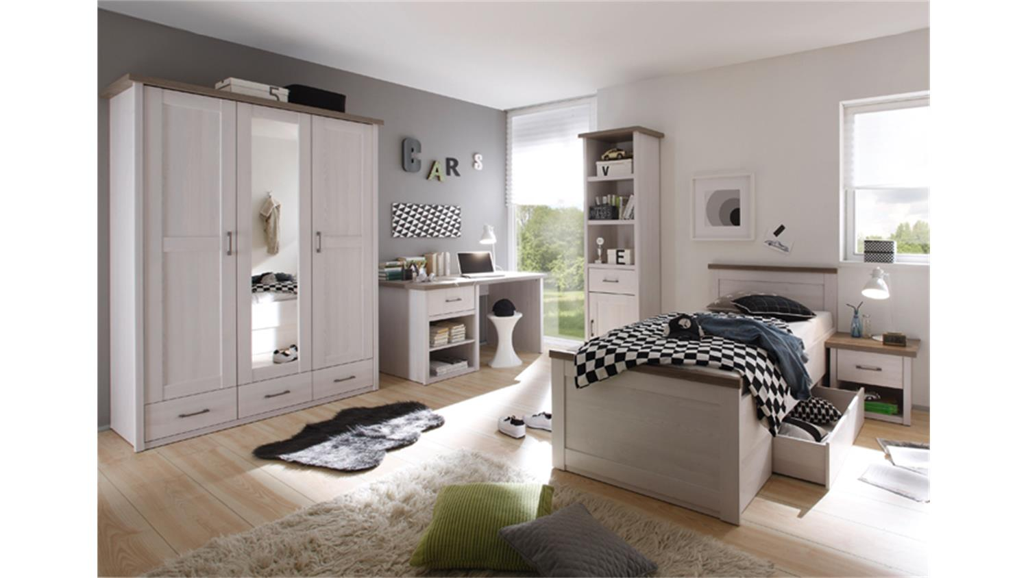 jugendzimmer luca komplettset 1 pinie wei und tr ffel 5 teilig. Black Bedroom Furniture Sets. Home Design Ideas