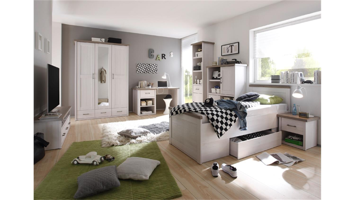 jugendzimmer luca komplettset 2 pinie wei und tr ffel 7 teilig. Black Bedroom Furniture Sets. Home Design Ideas
