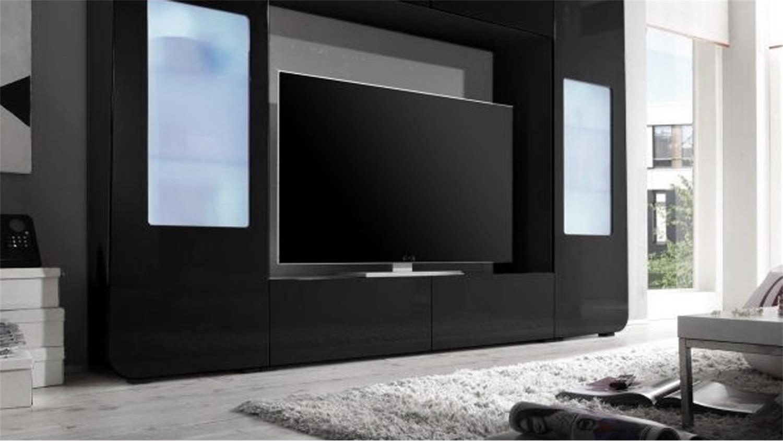 Mediawand kino 2 wohnwand schwarz hochglanz tv bis 60 zoll for Wohnwand rolf benz