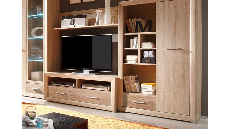 wohnwand blues anbauwand in sonoma eiche inkl led. Black Bedroom Furniture Sets. Home Design Ideas