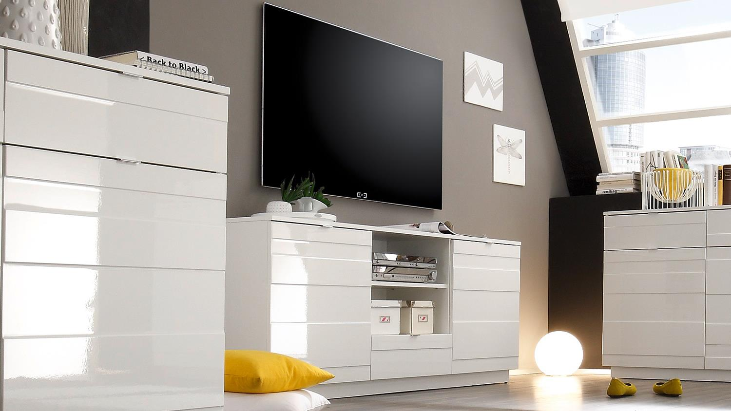 tv board in wei hochglanz reliefoptik lowboard relief. Black Bedroom Furniture Sets. Home Design Ideas