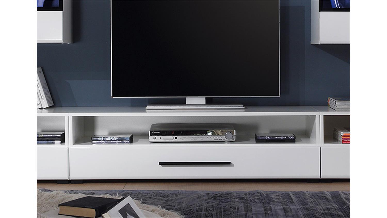 wohnwand attenzione wei hochglanz mit led. Black Bedroom Furniture Sets. Home Design Ideas