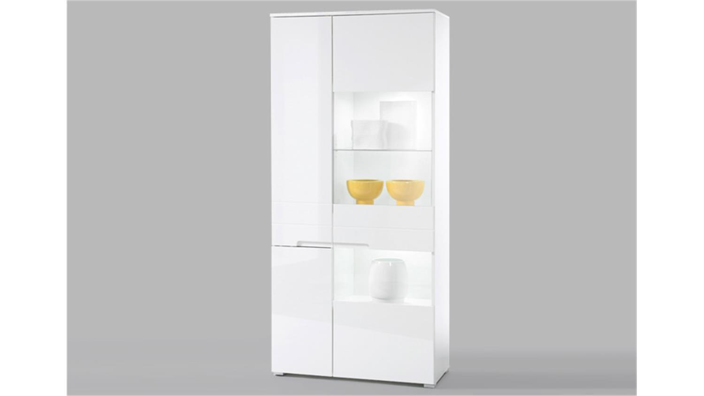 vitrine spice schrank hochschrank wei hochglanz inkl led. Black Bedroom Furniture Sets. Home Design Ideas