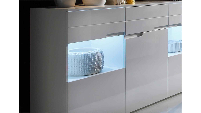 sideboard spice kommode anrichte in wei hochglanz inkl led. Black Bedroom Furniture Sets. Home Design Ideas