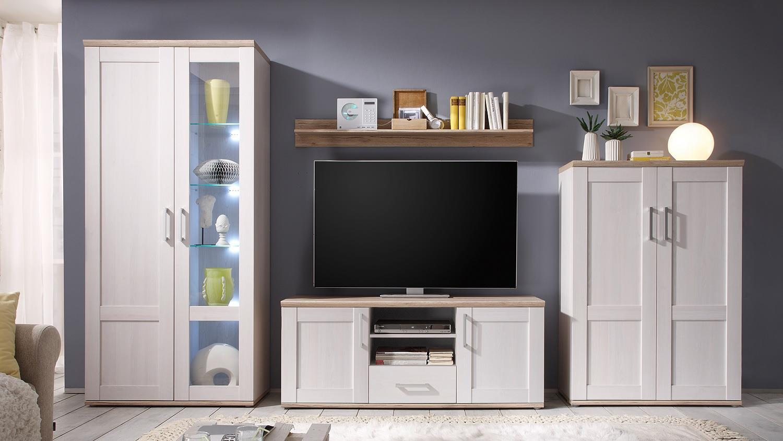 wohnwand romance sibiu l rche eiche san remo hell inkl led. Black Bedroom Furniture Sets. Home Design Ideas