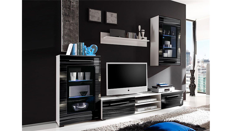 Wohnwand sahara in schwarz und wei mit 3d folie und led for Wohnwand 3d optik