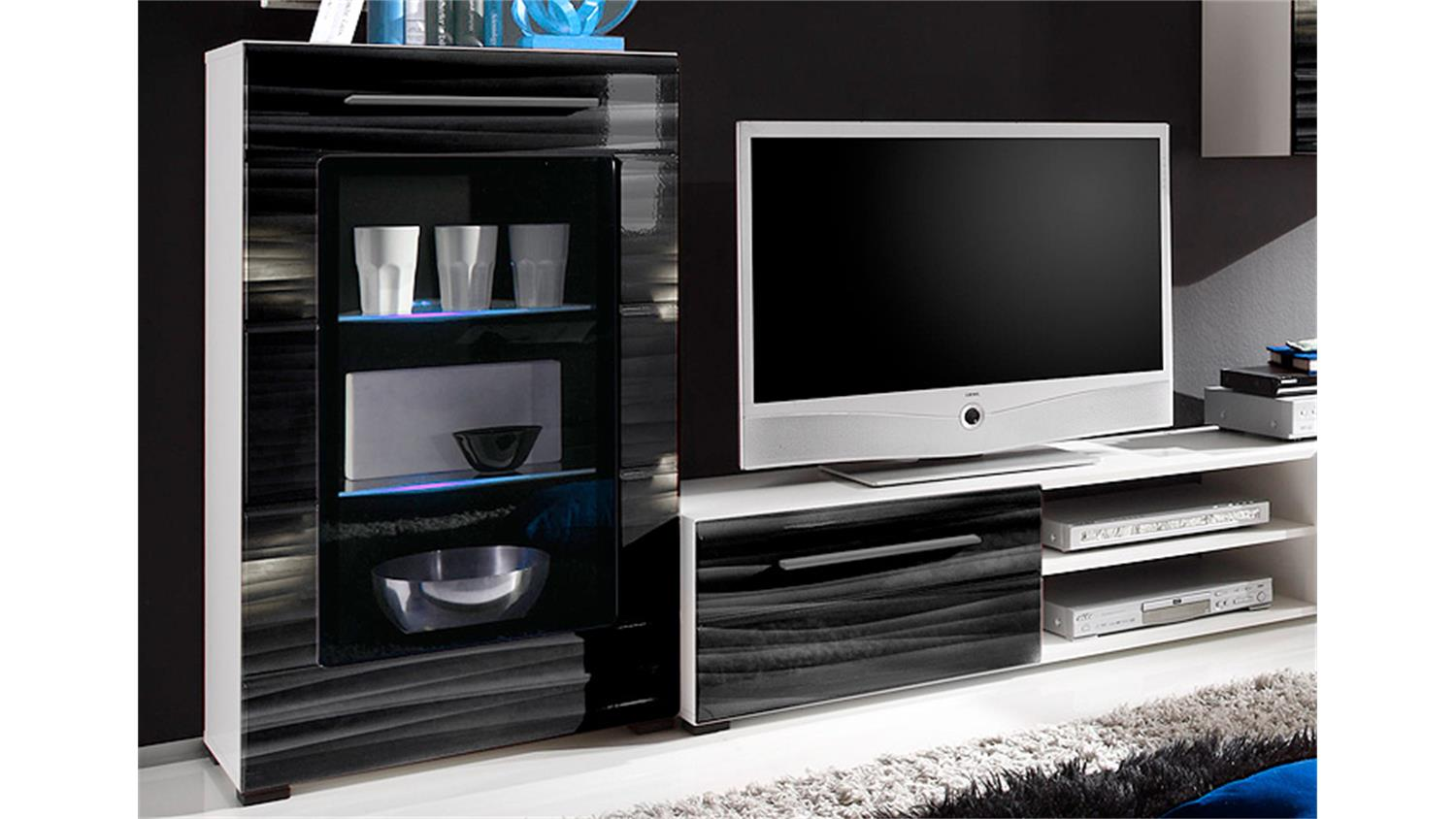 wohnwand sahara in schwarz und wei mit 3d folie und led. Black Bedroom Furniture Sets. Home Design Ideas