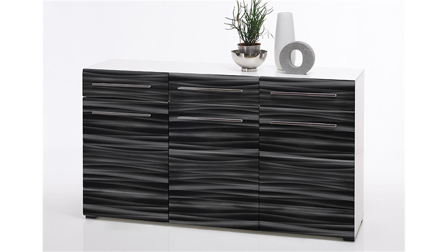 sideboard sahara kommode in schwarz und wei mit 3d folie. Black Bedroom Furniture Sets. Home Design Ideas