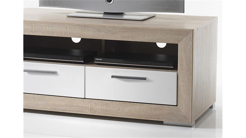 tv board fernando lowboard sonoma eiche wei hochglanz. Black Bedroom Furniture Sets. Home Design Ideas