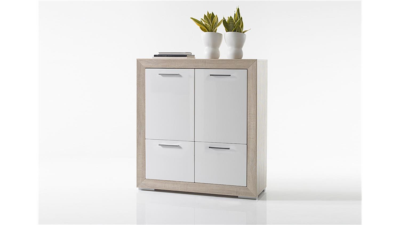wohnwand fernando anbauwand sonoma eiche wei hochglanz led. Black Bedroom Furniture Sets. Home Design Ideas