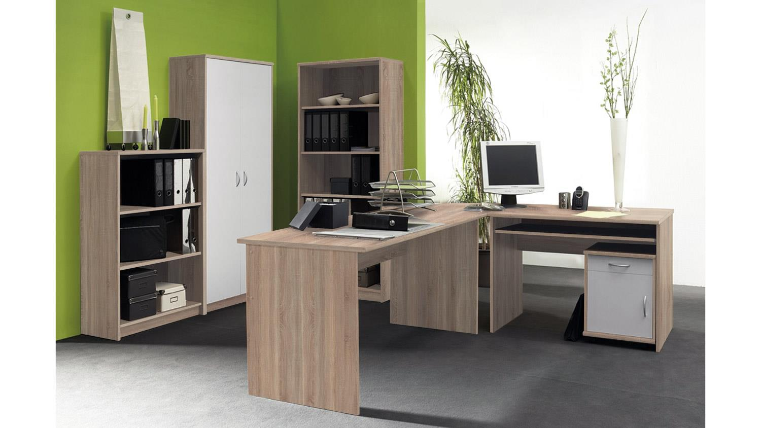 b ro set office compact in sonoma eiche und wei 5 teilig. Black Bedroom Furniture Sets. Home Design Ideas