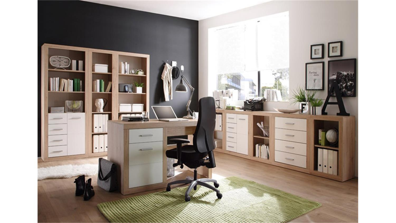 regalschrank can can aktenschrank in san remo eiche und wei. Black Bedroom Furniture Sets. Home Design Ideas