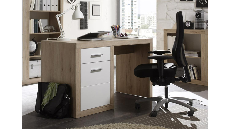 schreibtisch 1 can can computertisch in san remo eiche und wei. Black Bedroom Furniture Sets. Home Design Ideas