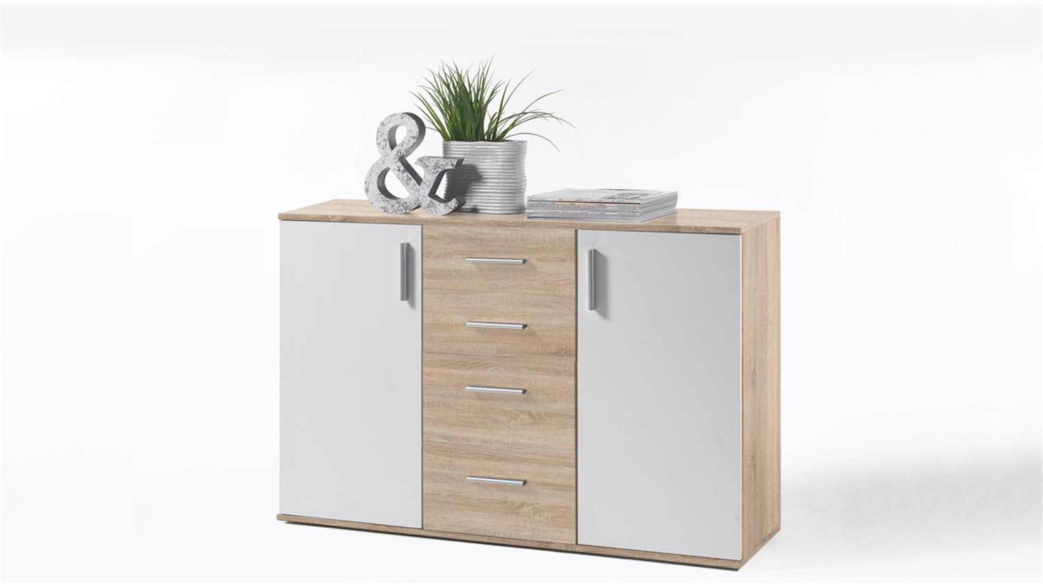 kommode bobby 5 sideboard anrichte 2 t rig sonoma eiche und wei. Black Bedroom Furniture Sets. Home Design Ideas
