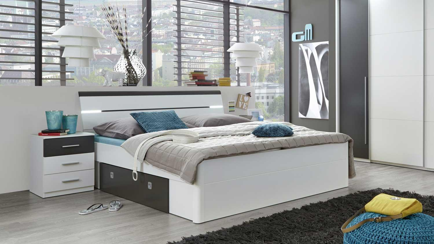 bettanlage mars bett nachtkommoden in wei lava kopfteil mit led. Black Bedroom Furniture Sets. Home Design Ideas