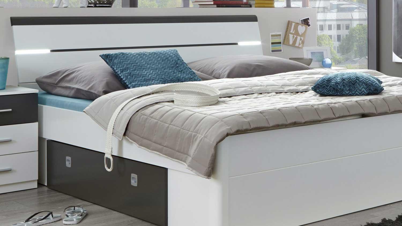bettanlage mars bett wei lava kopfteil mit led 180x200. Black Bedroom Furniture Sets. Home Design Ideas