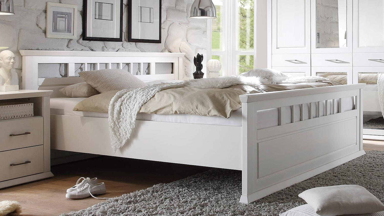 Emma In Kiefer Teilmassiv Weiß Schlafzimmerbett 180x200 Schlafzimmer Bett