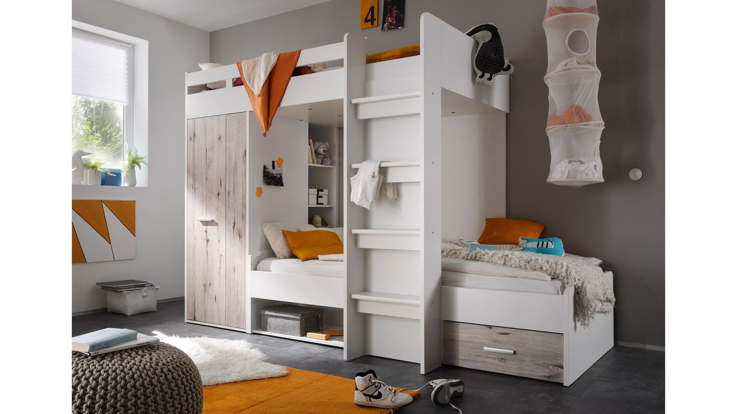 etagenbett maxi kinderbett hochbett bett wei und. Black Bedroom Furniture Sets. Home Design Ideas