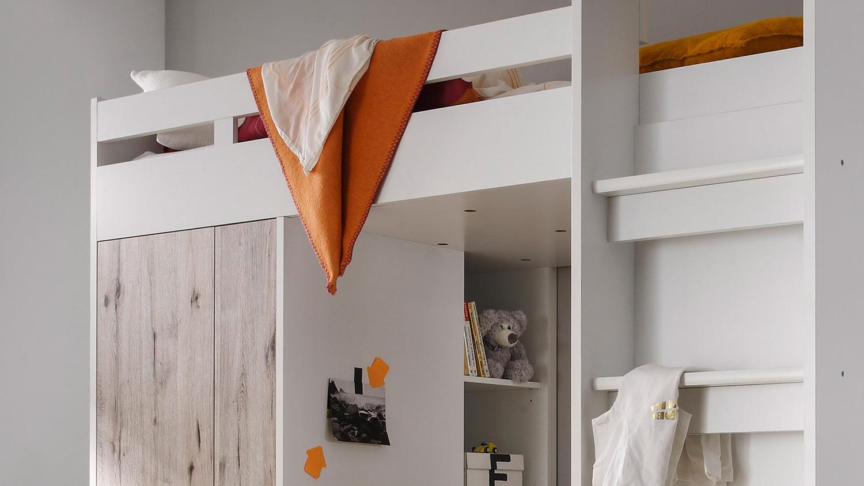 Etagenbett Eingebaut : Hochbett maxi kinder etagenbett in weiß und sandeiche 90x200