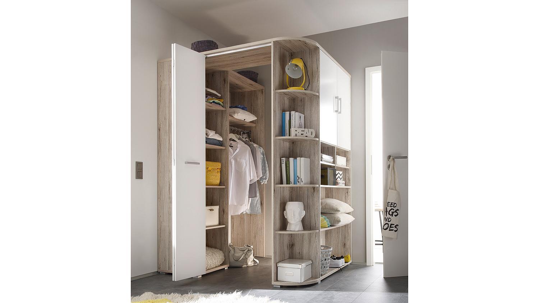 begehbarer eckschrank corner schrank sandeiche wei. Black Bedroom Furniture Sets. Home Design Ideas