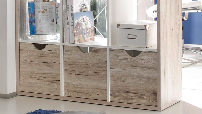 raumteiler 3 quadro in sandeiche und wei 15 f cher inkl 3 k rbe. Black Bedroom Furniture Sets. Home Design Ideas