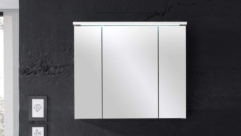 spiegelschrank splashi badm bel in wei inkl led beleuchtung 80 cm. Black Bedroom Furniture Sets. Home Design Ideas