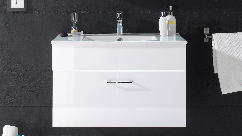Badezimmer splashi wei hochglanz inkl becken und led 2 teilig 80 cm - Badezimmer becken ...