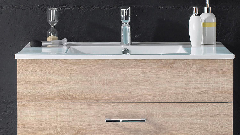 waschbeckenunterschrank splashi sonoma eiche inkl waschbecken 80 cm. Black Bedroom Furniture Sets. Home Design Ideas