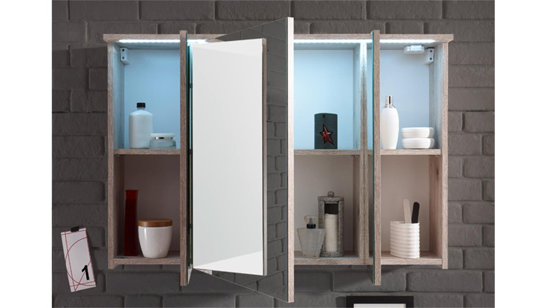 Badezimmer splashi in sonoma eiche inkl becken und led 2 teilig 80 cm - Badezimmer becken ...