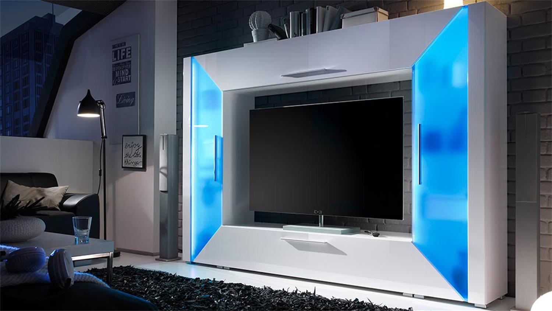 mediawand edge wohnwand wei hochglanz mit ambiente rgb led. Black Bedroom Furniture Sets. Home Design Ideas