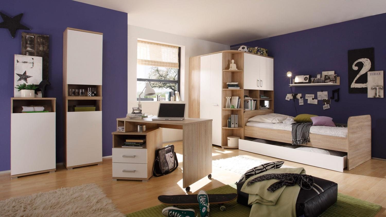 jugendzimmer corner 7 teilig sonoma eiche wei. Black Bedroom Furniture Sets. Home Design Ideas